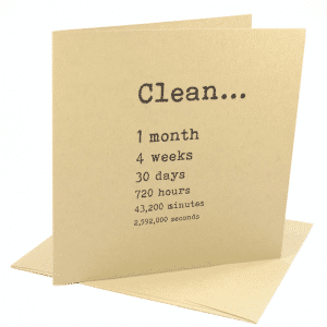 Clean 1 month addiction recovery greeting card