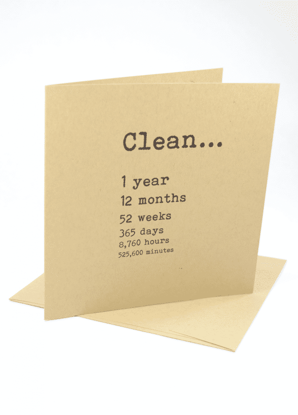 Clean 1 year addiction recovery greeting card