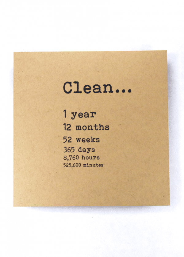 Clean 1 year NA recovery greeting card