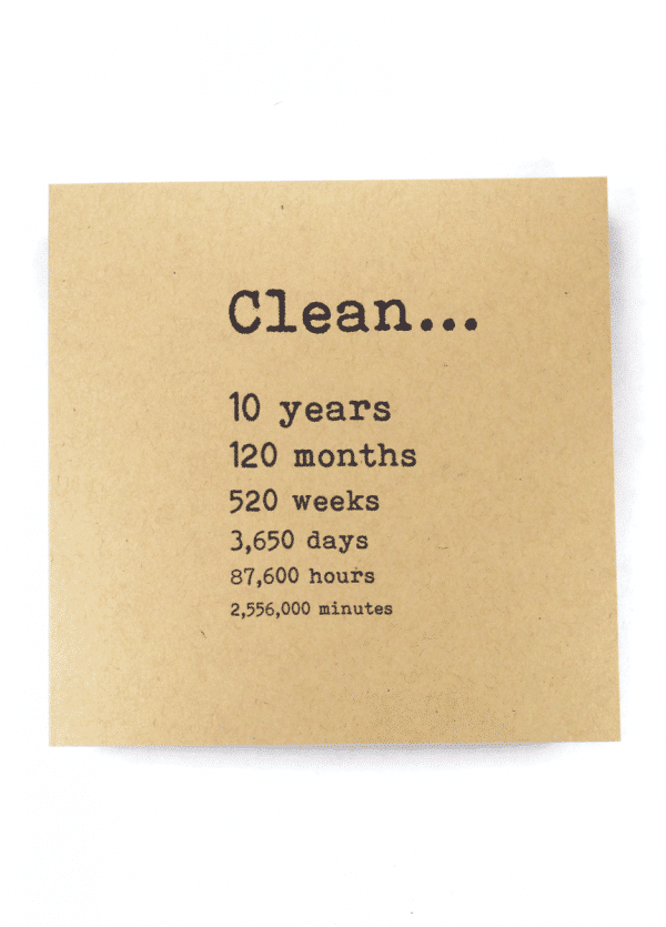 Clean 10 years NA recovery greeting card