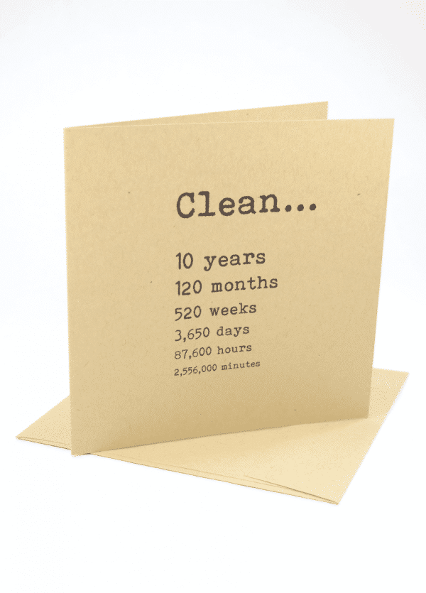 Clean 10 years addition recovery greeting card