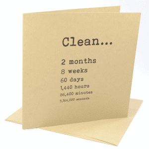 Clean 2 months addiction recovery greeting card