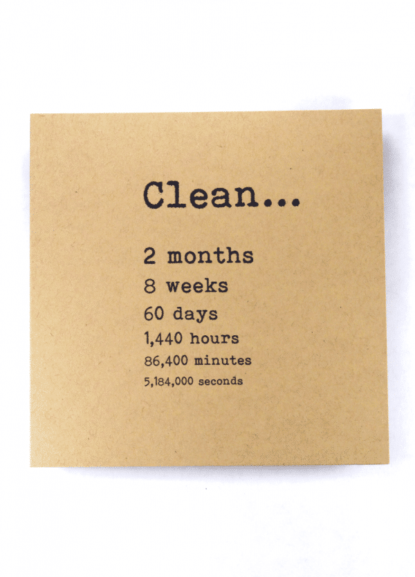 Clean 2 month NA recovery greeting card