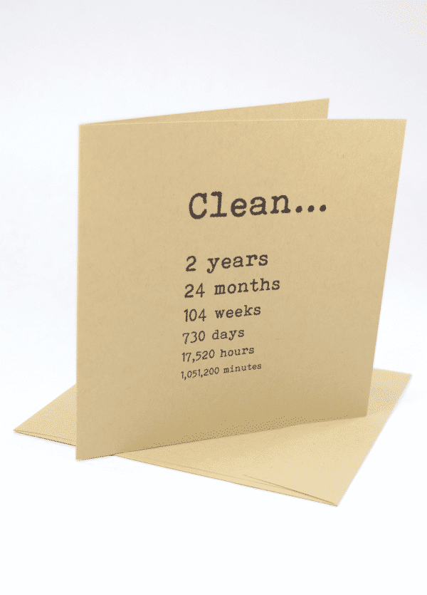 Clean 2 years narcotics anonymous recovery greeting card