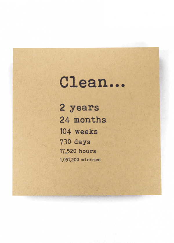 Clean 2 years NA recovery greeting card