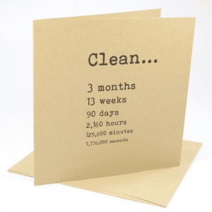 Clean 3 months addiction recovery greeting card
