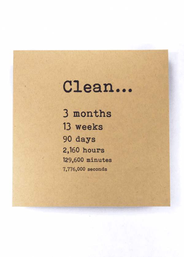 Clean 3 months NA recovery greeting card