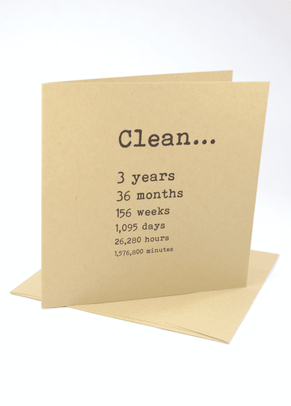 Clean 3 years narcotics anonymous recovery greeting card