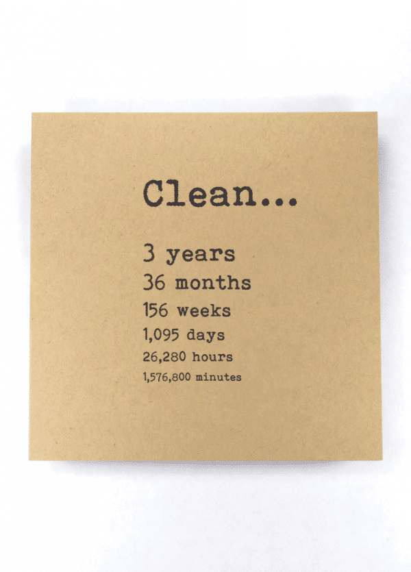 Clean 3 years NA recovery greeting card