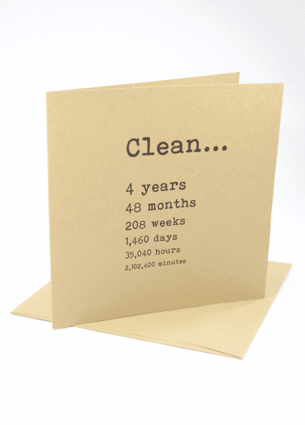 Clean 4 years narcotics anonymous recovery greeting card
