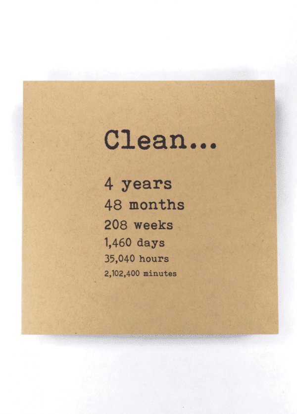 Clean 4 years NA recovery greeting card