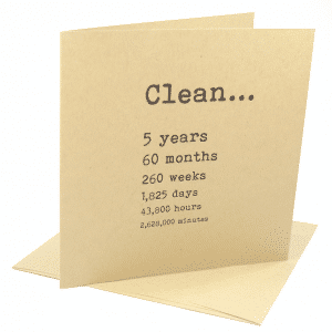 Clean 5 years narcotics anonymous recovery greeting card