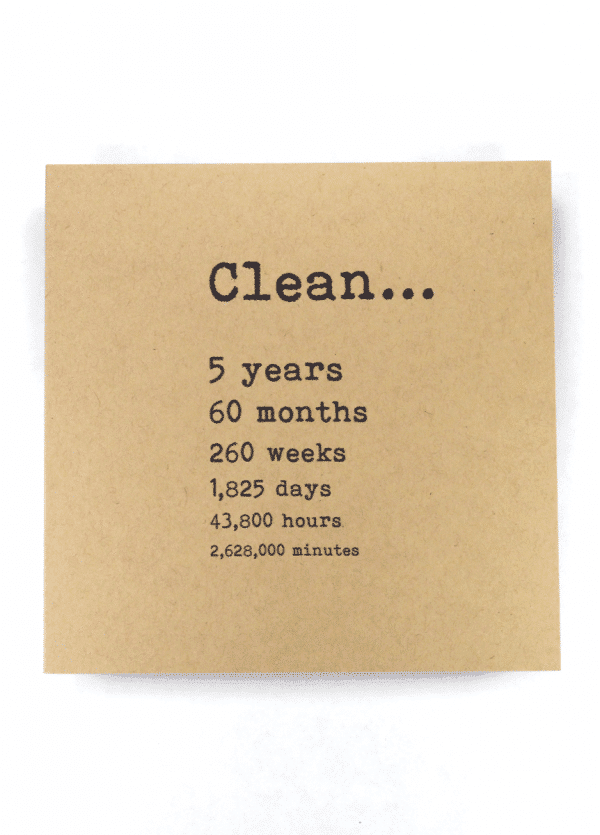 Clean 5 years NA recovery greeting card