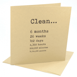 Clean 4 months addiction recovery greeting card