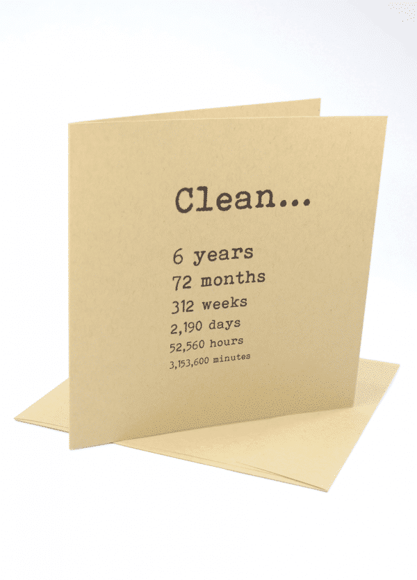 Clean 6 years narcotics anonymous recovery greeting card