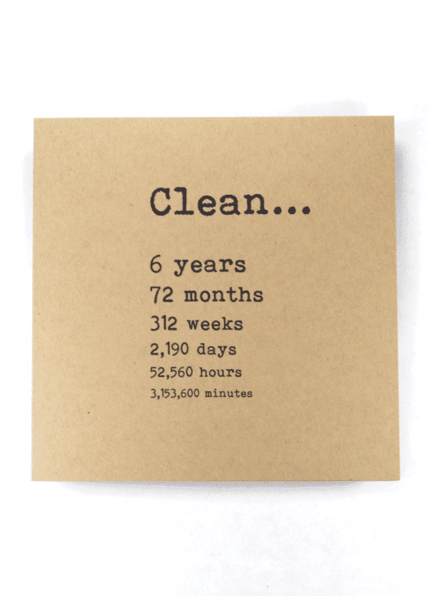 Clean 6 years NA recovery greeting card