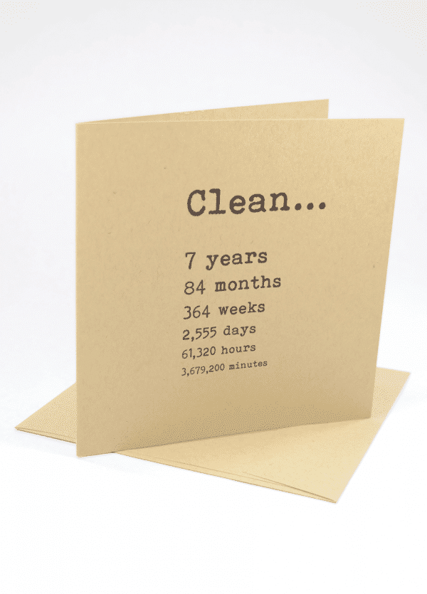 Clean 7 years narcotics anonymous recovery greeting card