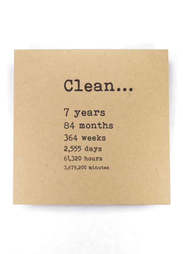 Clean 7 years NA recovery greeting card