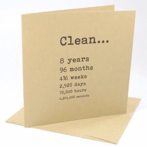 Clean 8 years narcotics anonymous recovery greeting card