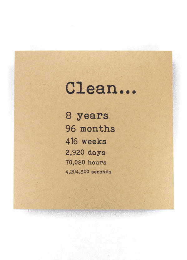 Clean 8 years NA recovery greeting card