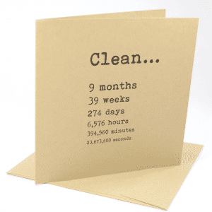 Clean 9 months addiction recovery greeting card
