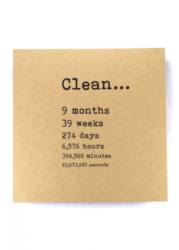 Clean 9 months NA recovery greeting card