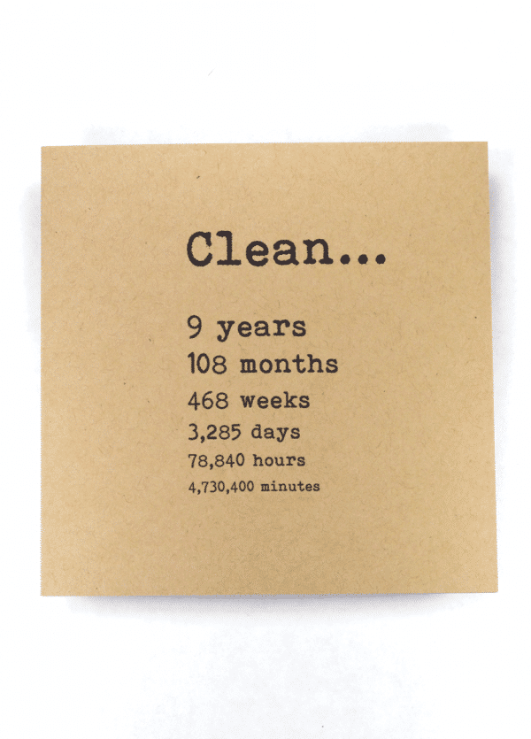 Clean 9 years NA recovery greeting card