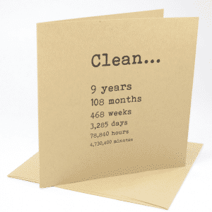 Clean 9 years narcotics anonymous recovery greeting card