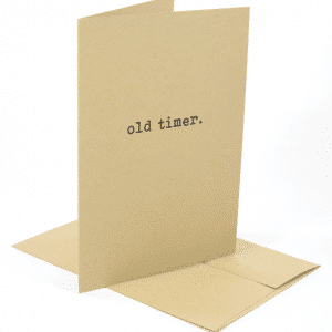 the stand up version of the old timer classic addiction recovery greeting card