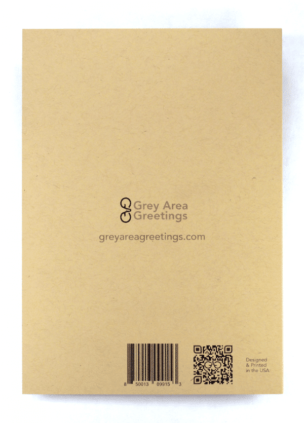 back view of SOBER recovery greeting card
