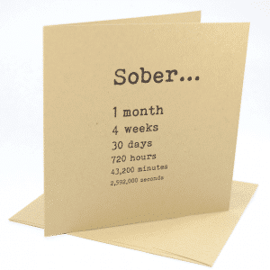 happy 1 month sobriety anniversary greeting card