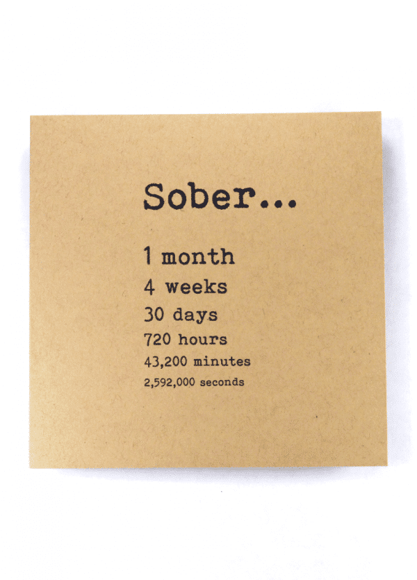 Sober 1 month alcoholics anonymous recovery greeting card