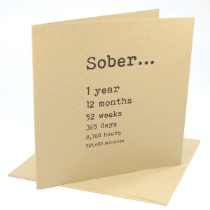 happy 1 year sobriety anniversary greeting card
