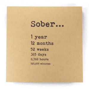 Sober 1 year alcoholics anonymous recovery greeting card