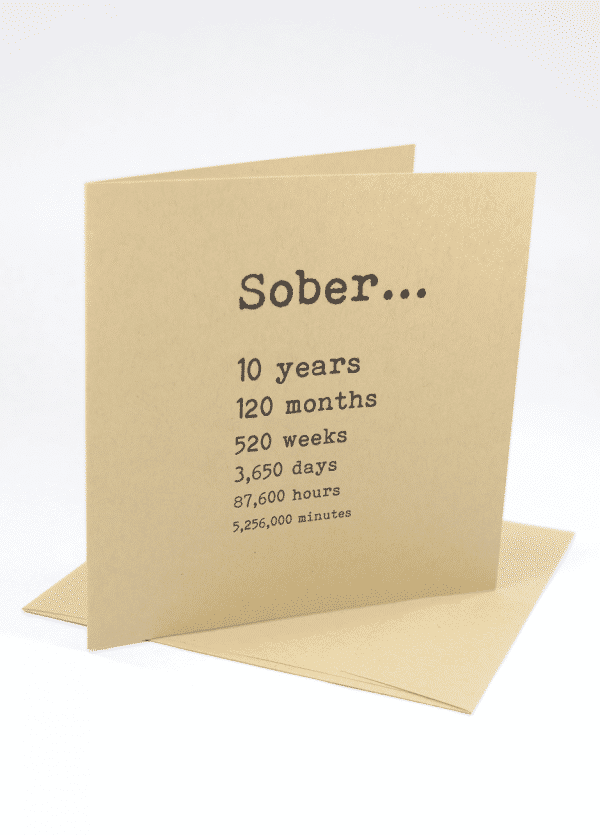 Sober 10 years alcoholics anonymous recovery greeting card