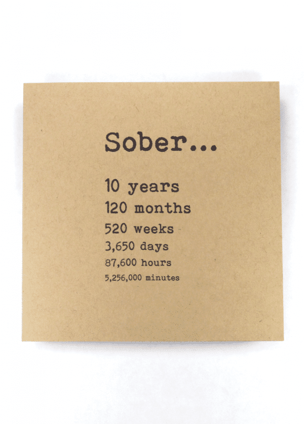 Sober 10 years AA recovery greeting card