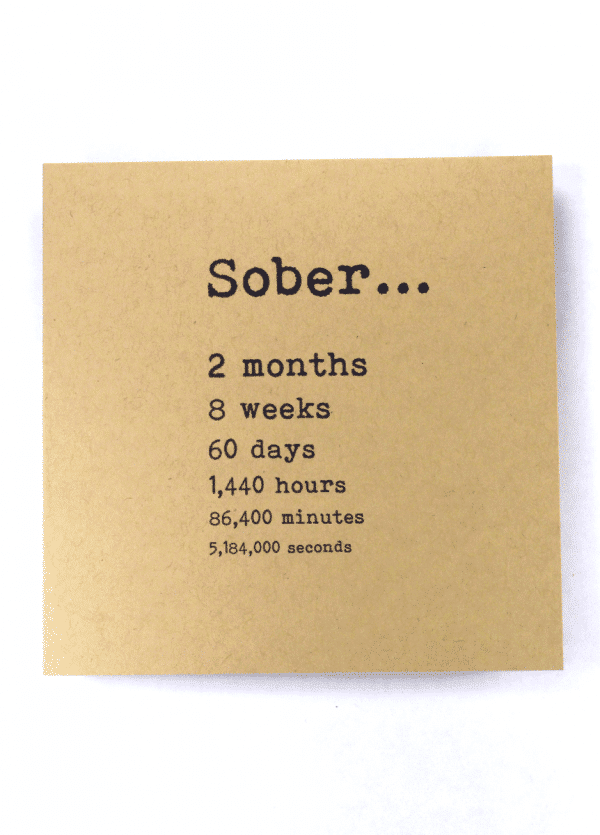 Sober 2 month alcoholics anonymous recovery greeting card