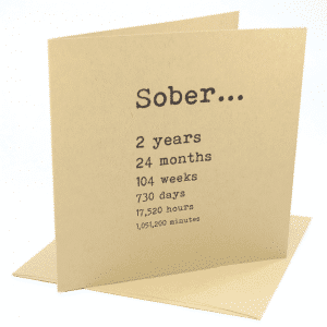 Sober 2 years alcoholics anonymous recovery greeting card