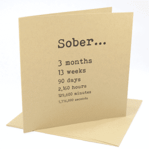 happy 3 month sobriety anniversary greeting card
