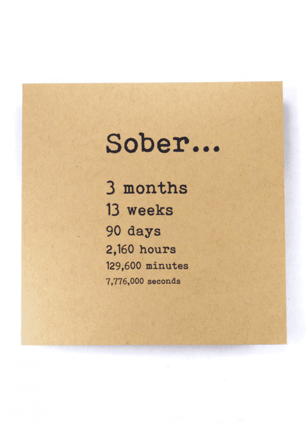 Sober 3 months alcoholics anonymous recovery greeting card