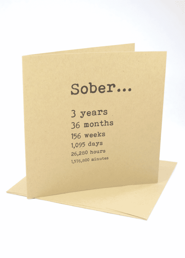 Sober 3 years alcoholics anonymous recovery greeting card