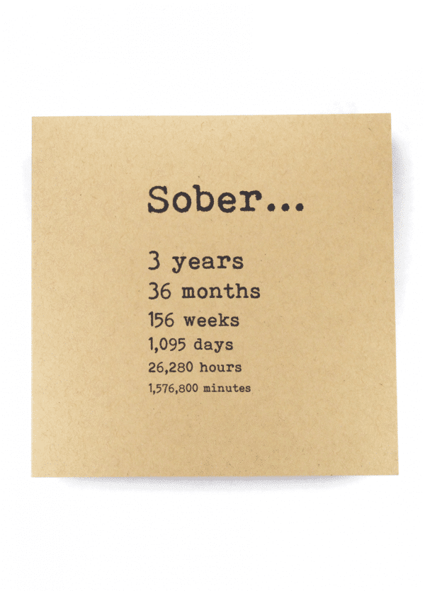 Sober 3 years AA recovery greeting card