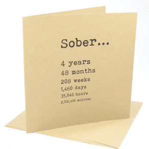 Sober 4 years alcoholics anonymous recovery greeting card