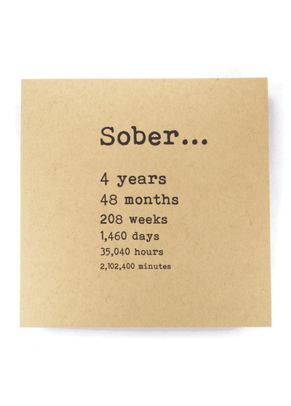 Sober 4 years AA recovery greeting card