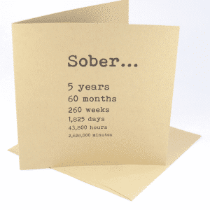 Sober 5 years alcoholics anonymous recovery greeting card