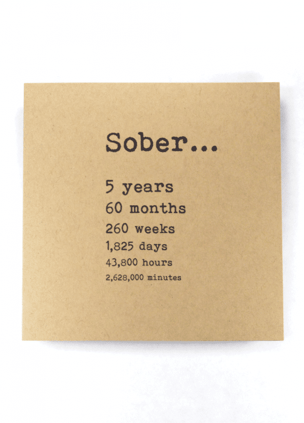 Sober 5 years AA recovery greeting card