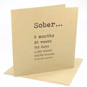 happy 6 month sobriety anniversary greeting card