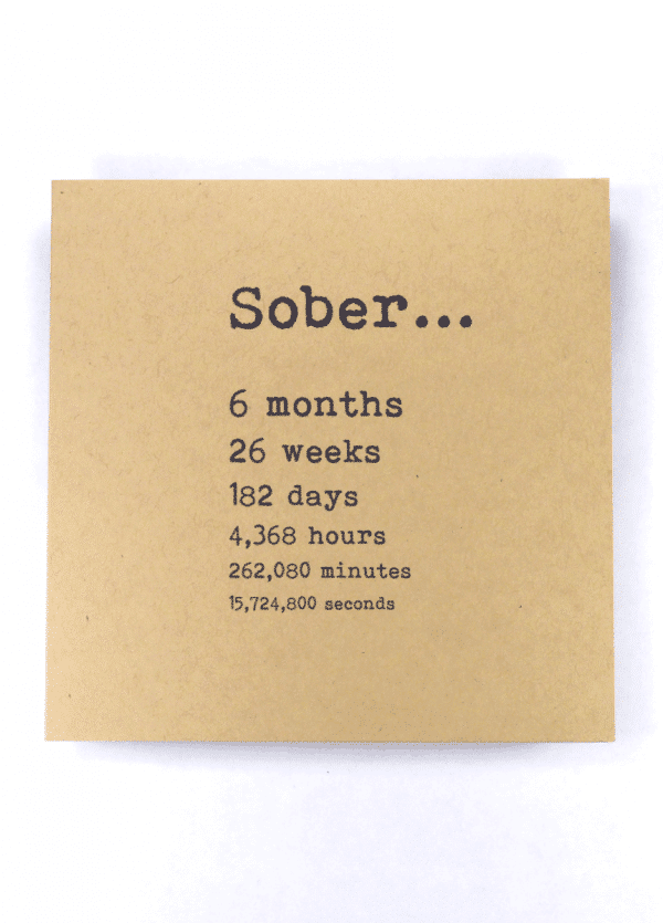 Sober 6 months alcoholics anonymous recovery greeting card