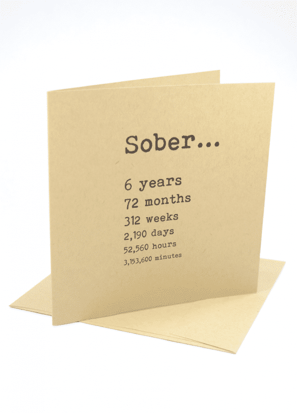 Sober 6 years alcoholics anonymous recovery greeting card