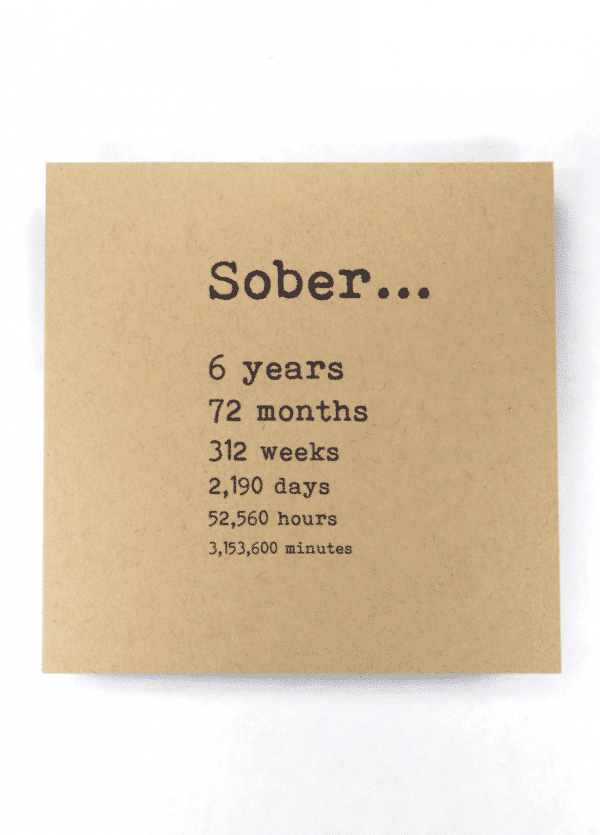 Sober 6 years AA recovery greeting card